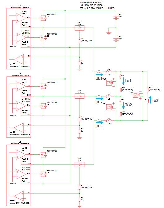 Dc Ac 3 Phase 3 Wire Inverter Vo 200v Po 5kw R6076mnz1 Reference Design Rohm Co Ltd
